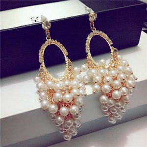 Korean temperament long pearl tassel personality multi-storey Korean fashion exaggerated pendant drop earrings C18110901