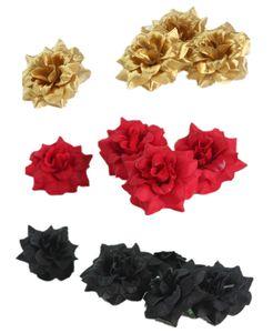 100pcs 인공 꽃 머리 플란넬 로즈 꽃 머리 결혼식 장식 배경 실크 인공 꽃 벽 벽 골든 로즈