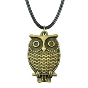 WYSIWYG 5 Pieces Leather Chain Necklaces Pendants Choker Collar Pendant Necklace Women Owl 28x18mm N6-A10655