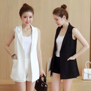 Chaleco blanco negro Blazer mujeres bolsillos Thin chaqueta larga Cardigan primavera verano sin mangas traje Chaleco Coat mujeres Chaleco C4589