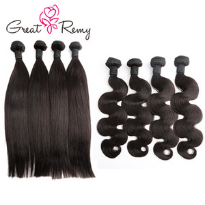 GreatRemy® 4PCS / LOT Wholesale Paquete de cabello humano Natural Negro Negro Cuerpo Straight Wave Pie profundo Rizado Weave 8-24inch Virgen Virgen Tronco