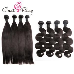 Greatremy® 4 stks / partij Groothandel Menselijk Haarbundels Natuurlijke Zwart Rechte Body Wave Diep Krullend Haar Weave 8-24 Inch Virgin Hair Cheft