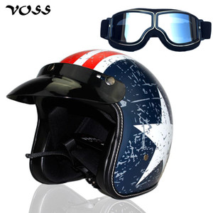 VOSS cara abierta 3/4 motocicleta de motocross casco Casco Capacete, casco Vespa de la vendimia y de plata gafas, envío libre