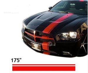 """(10 * 450 cm / rollo) Car Styling 175"""" Vinyl Decal Sticker compite con la raya para todos los coches Dodge Challenger Calcomanías"""
