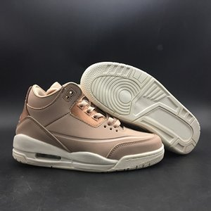 Alta calidad NRG JTH 3 Rose Gold Particle Beige zapatos de baloncesto para mujer 3s WMNS AH7859-205 Athletic Sport Sneakers
