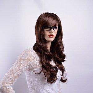 Pelucas de color marrón ondulado largo de Xiu Zhi Mei con Flequillo Pelucas sintéticas de cabello completo natural para mujeres Fibra resistente al calor