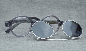NEWEST ZOLMAN العلامة التجارية المستديرة CLIP-ON ACETATE النظارات المستقطبة + النظارات الطبية إطار مجموعات النظارات الشمسية المعطي لون 56-24-145 مجموعة كاملة