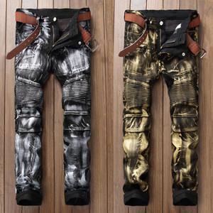 Mode Streetwear Hommes Jeans Style Punk Night Club d'Or Argent Peinture imprimés Hommes Jeans Slim Fit Marque Biker Long Pants
