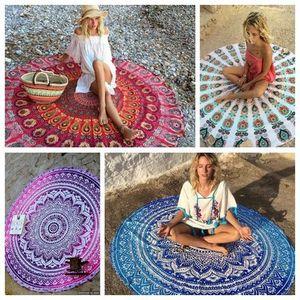 Round Beach Blanket Towel Chiffon Beachwear Shawl Mandala Peacock Pattern Tapestry Yoga Mat Over mix Designs