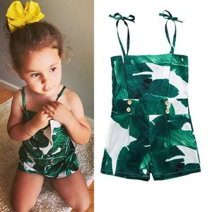 0-2T Baby Girls Summer Jumpsuit Toddler senza maniche Foglie verdi Stampa Pagliaccetto Body in cotone con bottone 0-24M