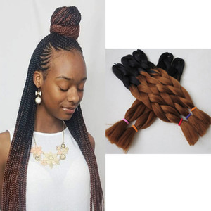 Xpression Braiding Hair Kanekalon 고온 Ombre Braids Hair 2 톤 컬러 표현식 Braiding Hair Synthetic 1B / 33 옹 브르 브라운
