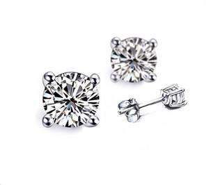 All'ingrosso 2ct / paio 4 Prong 18K placcato oro bianco Orecchini per le donne fidanzamento anniversario SONA orecchini di diamanti sintetici Stud