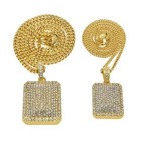 New Silver Gold Plated Bold Statement Collane a catena cubane per uomo Donna Full Shining CZ Crystal Collana con ciondolo quadrato Hiphop Jewelry GM