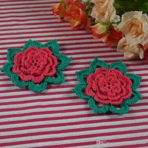 DIY الكروشيه اليدوية 7-8cm إبرة تشبه أوراق 3D الكروشيه زين زهرة الفراشة الدافئة الرئيسية زفاف الديكور.