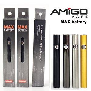 2pcs Оригинал Amigo Max Vape батареи 510 Разогреть 380mAh Регулируемое напряжение Bottom Плата за густого масла Картриджи Испаритель Ручка с USB