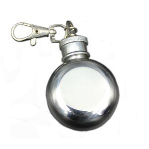 304 de acero inoxidable 1 oz mini pequeño frasco redondo de la cadera Portable Metal Wine Pot pequeño frasco de la cadera con llavero 28 ml