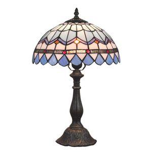 OOVOV 티파니 스터디 룸 데스크 램프 지중해 블루 유리 Bedsides 테이블 램프 라이트 아이 방 책상 램프