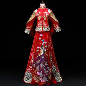 High Quality Red Traditional Chinese Wedding Dress Long Cheongsam Handmade Embroidery Qipao Dresses Retro Dressing Gown Size XXL