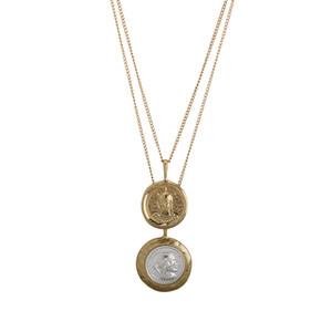 Moda 2018 Vintage Gold Color doble Laye collar doble redondo personaje colgante monedas antiguas collares regalo para las mujeres