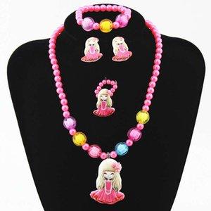 Fashion Explosion der heißen Verkaufs-Kinderschmuck Mädchenhalsketten-Armband-Ring-Ohrringe Vierteilige Girl Set Geschenk-Set