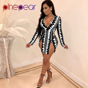 PinePear Geometrik Baskı Elbise 2019 Yeni Sonbahar Kış Kadın Uzun Kollu Derin V Boyun Yüksek Bölünmüş Seksi Mini Elbiseler Damla Nakliye