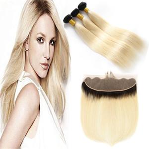 Dark Root Ombre 1B 613 # Blonde Dos tonos paquetes de trama de cabello humano con frontal completo Honey Blonde Ombre Hair teje con cierre frontal