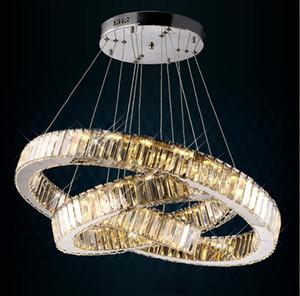 led كريستال الثريا الخفيفة الحديثة led دائرة الثريا مصباح معلق لماعة led الدائري الإضاءة الديكور المنزل