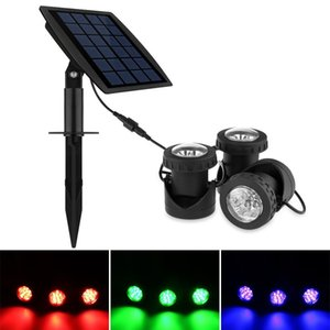Set of 3 Solar Powered Outdoor Spotlight RGB Color Changing and White, Warm, Blue Waterproof Underwater Submersible Lamps
