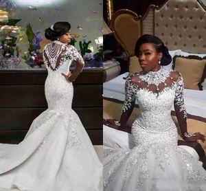 2020 Luxo Vestidos de casamento da sereia Sheer manga comprida gola alta Contas de Cristal Capela Trem Africano Árabe vestidos de noiva Plus Size personalizado