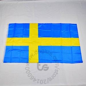 Швеция / Шведский национальный флаг Бесплатная доставка 3x5 FT / 90 * 150см висячие национальный флаг Швеция / Swedish Домашнее украшение флаг баннер