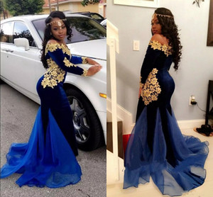 2K18 Nijeryalı Uzun Kollu Gelinlik Modelleri Kapalı Omuz Kadife Mermaid Kraliyet Mavi Kadife Abiye giyim Ile Aplikler
