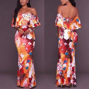 Abiti lunghi stampati a fiori di estate maxi arancioni delle donne vestiti lunghi 2018 dalla spalla dei vestiti dalla spiaggia del fodero del BodyColl della spalla di lunghezza