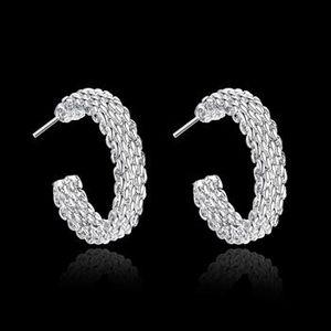 2018 غرامة 925 حلق فضة ، 2018 نمط جديد 925 silverd جديد شبكي الأذن الأذن بوتيل للنساء الأزياء والمجوهرات حار بيع الكلاسيكية SE082
