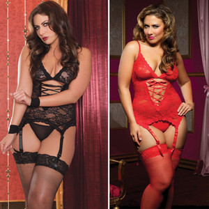 Ladies Lace Plus Size Lingerie Sexy Lingerie Babydoll vestido Suspender Pijamas # R78