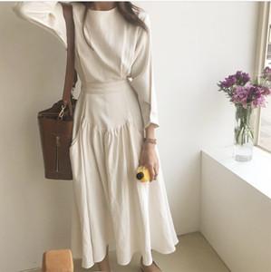 SuperAen 2018 Корейский Стиль Женщины Длинное Платье Мода Хлопок Новый Темперамент Чистый Цвет Платье Женские Свободные Весна Повседневные Платья
