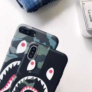 Tide brand camouflage shark mouth for iphone XS MAX mobile phone shell iPhone8 matte couple 6s 7 creative lanyard TPU earphones
