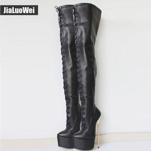 Siyah Yeni 22 CM Ultra Yüksek Topuklar Dantel-Up Platformu Altın Metal Stiletto Topuk Sivri Burun Diz Üzerinde Kadın Crotch Yüksek Çizmeler Adam dans ...
