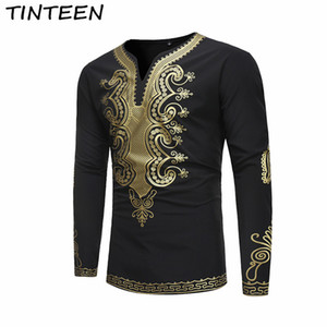 TINTEEN 2018 African Tu Nationality Camiseta estampada étnica Top Fashion manga larga Camiseta HXH186