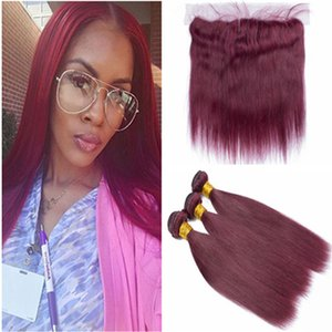스트레이트 # 99J 와인 레드 귀에서 귀까지 13x4 레이스 정면 클로저 (3Bundles 포함) 페루 부르고뉴 (Front Burgundy Red Human Hair Weave Extensions with Frontal