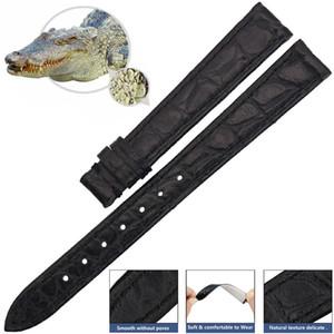 ZLIMSN Original Alligator Uhrenarmband Band Zubehör Schwarz Krokodilleder Armband 12mm-24mm Armband Für OMEGA