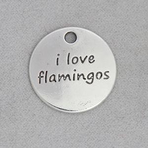 Fashion Alloy Round I Love Unicorns I Love Flamingos Message Pendant Charms For Kids 50pcs 21mm AAC1890