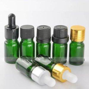 Hot Market Glass Empty 5ml Botellas cuentagotas para aceites esenciales, Green 5ml E líquidos Botellas de vidrio al por mayor con Gold Black Silver Caps