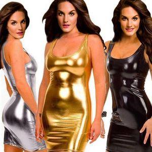2018 neue eng anliegende sexy dress schlank nass aussehen fetisch bondage vinyl pvc dress leder bodycon plus größe 5xl