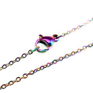 """Collana a catena color arcobaleno da 1.6mm Collana da 18 """"in acciaio inossidabile da 18 pollici da 20 pollici a 24 pollici da 28 pollici"""