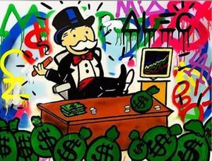 Alec Монополия высокого качества расписанной HD печать Аннотация Cartoon Graffiti Попы ЖИВОПИСЬ Stocks на холст, домашний декор стена искусство G74
