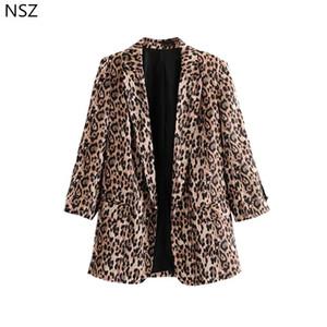 NSZ женщины Сексуальная леопардовый пиджак осень 2018 новый длинный рукав пальто повседневная куртка верхняя одежда Y1891701