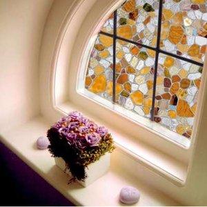 Euro Style 45 * 100 CM 3D Cobble Conception PVC Statique En Verre Fenêtre Film Intimité Couvrant Baignoire En Verre Autocollant Autocollant Décor À La Maison