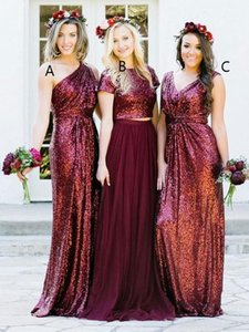 Burgundy Sequins Bridesmaid Dresses with Mixed orders Pleats Formal Wedding Guest Gowns Evening Dress Full Length Navy Blue Rose Gold