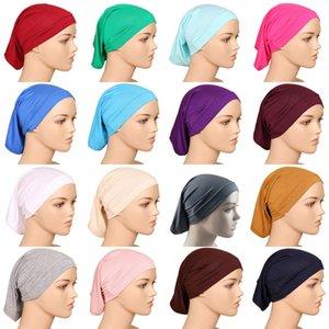 Müslüman Başörtüsü Merserize pamuk headkerchief Kapak Şapkalar Katı renk Kapaklar 20 renkler DHL C4752