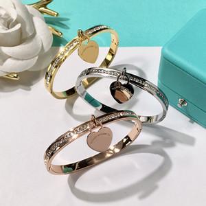 Acero inoxidable 316L braceletsbangles Pulseras colgantes corazón plateado oro para mujer Diseño de la marca